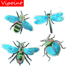 embroidery Sequined big Bee beetle patches for jackets,animal cartoon badges applique clothingA641