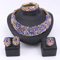 Women Party Bridal Fine Blue/Red Rhinestone African Beads Jewelry Sets For Wedding Party Dinner Dress Necklace Jewelry Sets