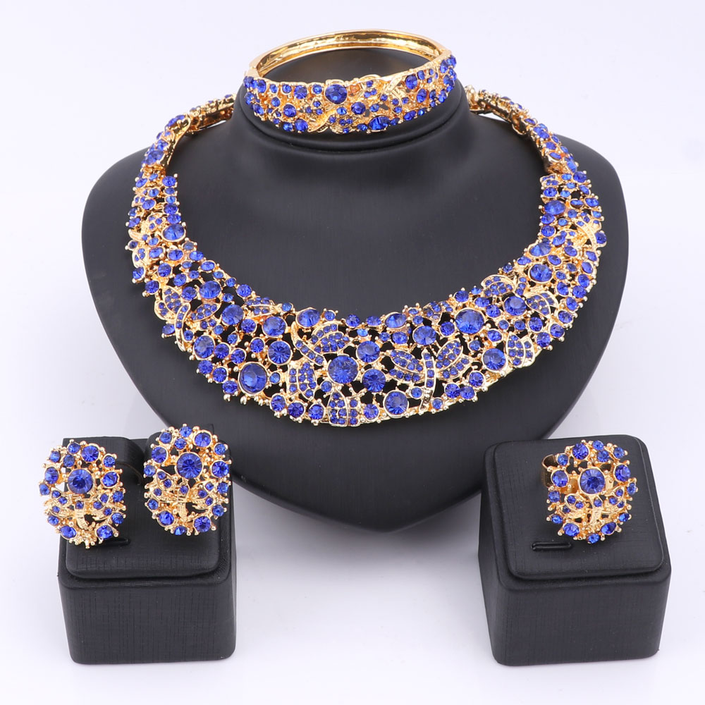 Bridal classics necklace sets mj 259 - Women Party Bridal Fine Blue Red Rhinestone African Beads Jewelry Sets For Wedding Party Dinner