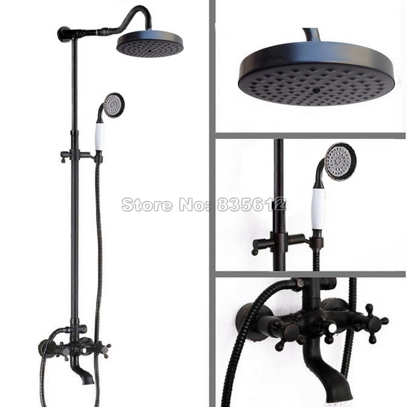Black Oil Rubbed Brass Bathroom Rain Shower Faucet Set with Round ...