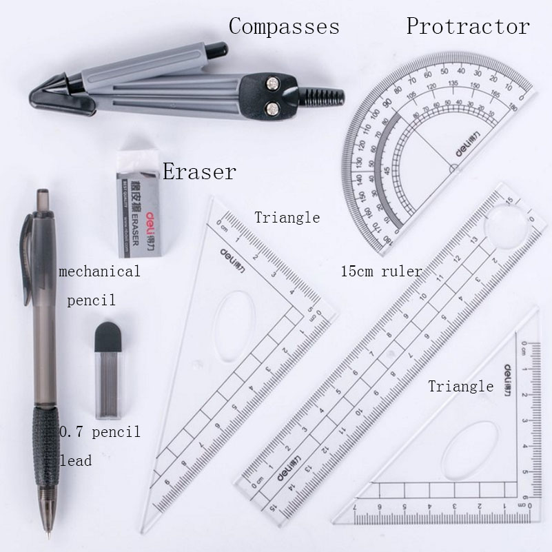 8 Pcs Ruler Compasses Set Triangle Ruler Eraser Protractor Multifunctional Math For Students School Supplies