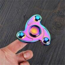 HOT New Style Toy Rainbow Titanium Alloy Fidget Spinner Blade Pocket Hand Toy Finger Gyro EDC Toys Finger Gyro Drop Shipping
