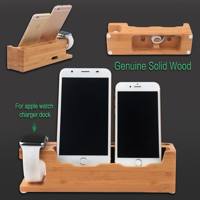 Para apple watch genuino cargador estación de acoplamiento de carga de madera maciza de madera del sostenedor del soporte para iphone 5 6 7 más teléfonos