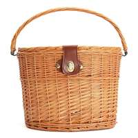 Willow Retro Road Racing Bicycle Cycling Skep Cane Manmade Vintage Track Bike Natural Wicker Basket Leather