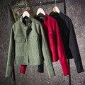 2017 осень женщины с длинным рукавом замши Кожаная куртка кардиган старинные случайный тонкий военная пальто doubal карманы джинсы дамы