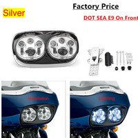 Harley Road Glide Dual 5 3/4 Chrome LED Daymarker Style Headlight Motorcycle Led Headlamp Hi/Low beam double headlight for Bike