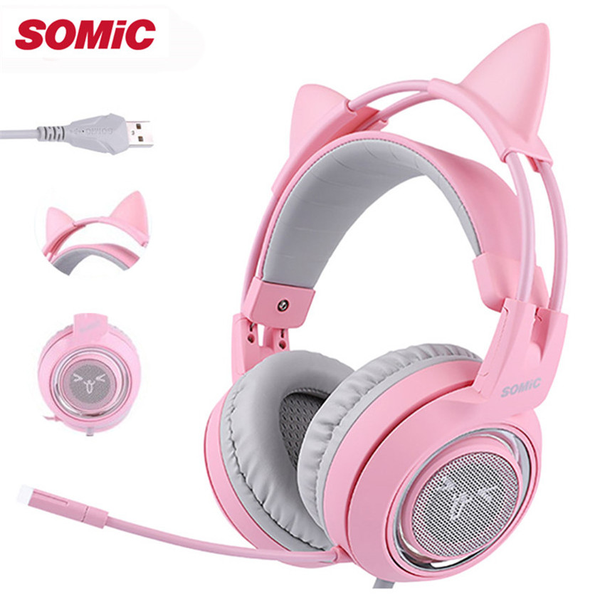 SOMIC G951 Kids Stereo Gaming Headset casque Pink Girls Cat Ear USB 7 1 Surround Sound
