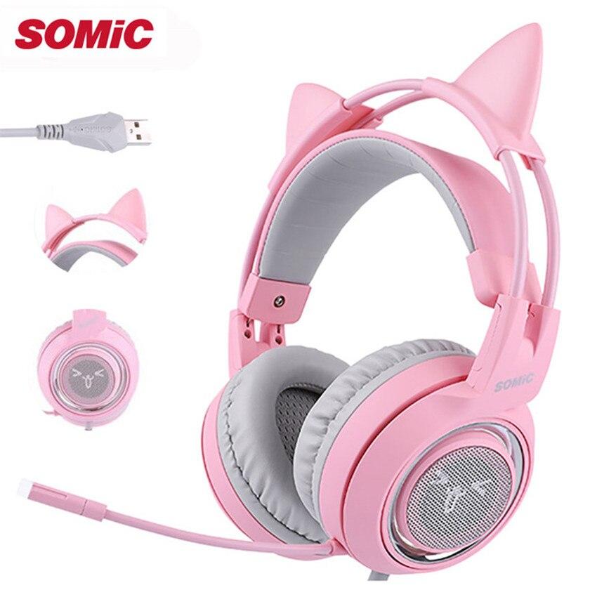 SOMIC G951 enfants casque de jeu stéréo casque rose filles chat oreille USB 7.1 Surround son casque avec micro Vibration pour PC Gamer