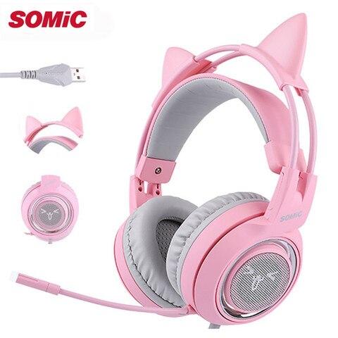 Fone de Ouvido Fone de Ouvido com Vibração Mic para o Jogador de Computador Somic Crianças Estéreo Jogos Casque Rosa Meninas Gato Orelha Usb 7.1 Surround Som com Vibração G951