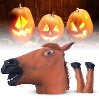 Halloween Mask Latex Horse Mask Creepy Animal Costume Theater Prank Crazy Party Halloween Decor Horseshoe Gloves Horse Headgear