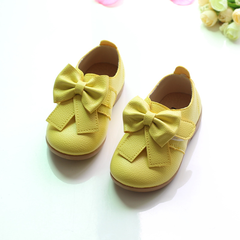 Lovely Bow Children Shoes Girls Shoes 2017 Fashion PU Leather Shoes Kids Princess Flat Soft Sole Toddler Baby Girl Sneakers
