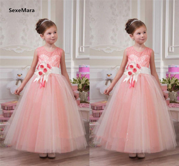 New Princess Puffy Pink Flower Girl Dress Lace Tulle with Sash ...