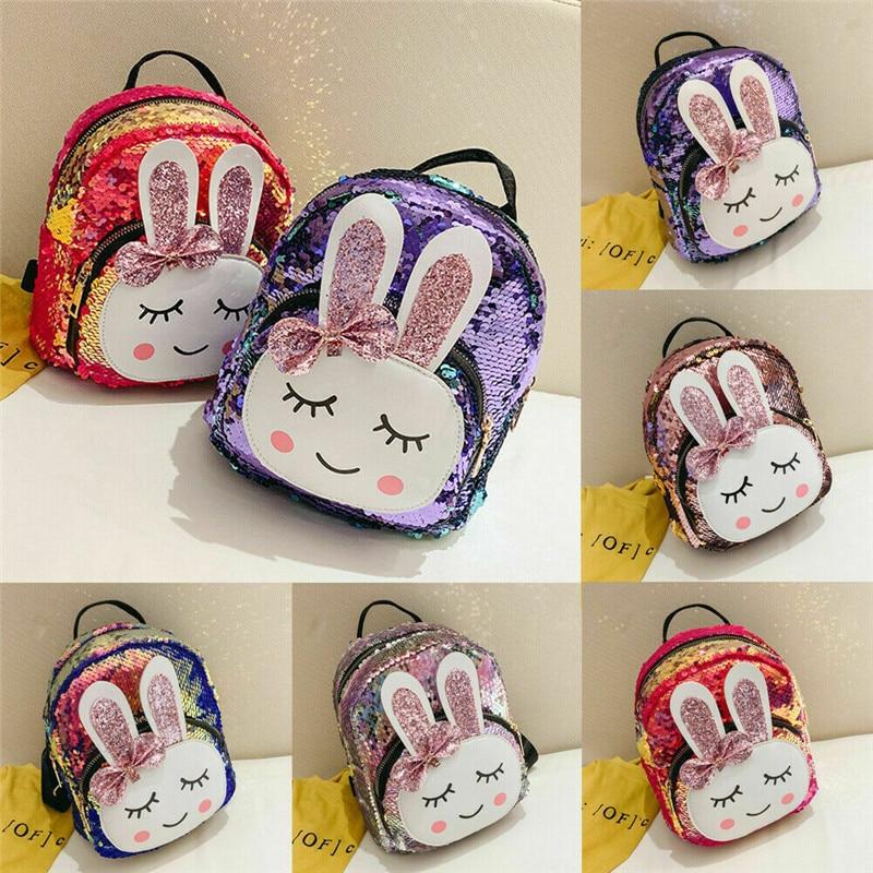 PUDCOCO 2019 New Baby Cartoon Sequin Shoulder Bag Kindergarten Schoolbag Backpack Kids Toddler Cute Plush School Backpack
