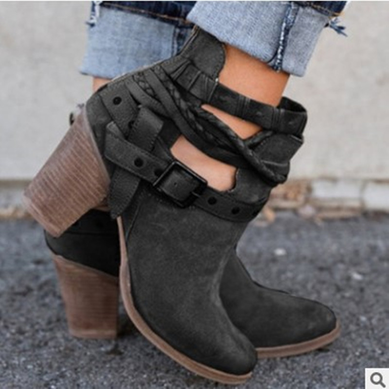 europe women boots high heel martin boots Ankle buckle rivet short boots autumn winter fashion shoes woman sexy plus size 35 43 in Ankle Boots from Shoes