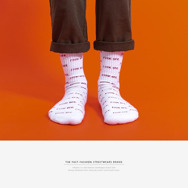 INFLATION 2018 summer men women long   socks   hip hop streetwear skateboard cool crew   socks   for boy letter   socks   913AI2018