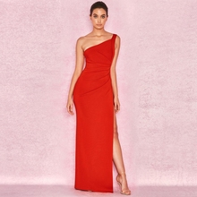 Горячая Распродажа, Сексуальное Красное длинное платье, Vestidos Festa, Клубная одежда, шикарное на одно плечо, без рукавов, платья знаменитостей для вечеринок, женское Макси платье
