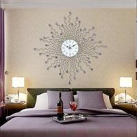 Creative Handmade Metal Crystal Fashion Clock Modern Tea Room Luxurious Decoration Crafts Needle Quartz Large Wall Clocks Gifts