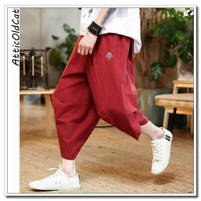 Colour Sarouel Nouveaux 2019 Coton Points Broderie Streetwear Chinois Pantalon Atticoldcat Sept Picture Lâche Style picture Colour Hommes Décontracté nvgwSF