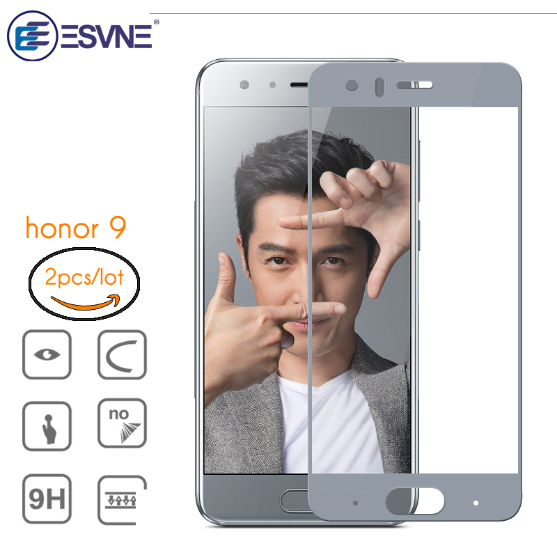 ESVNE (2PcsLot)2.5D Full Cover HD Clarity Honor 9 Screen Protector For Huawei Honor 9 Glass 9H Hardness Tempered Glass film