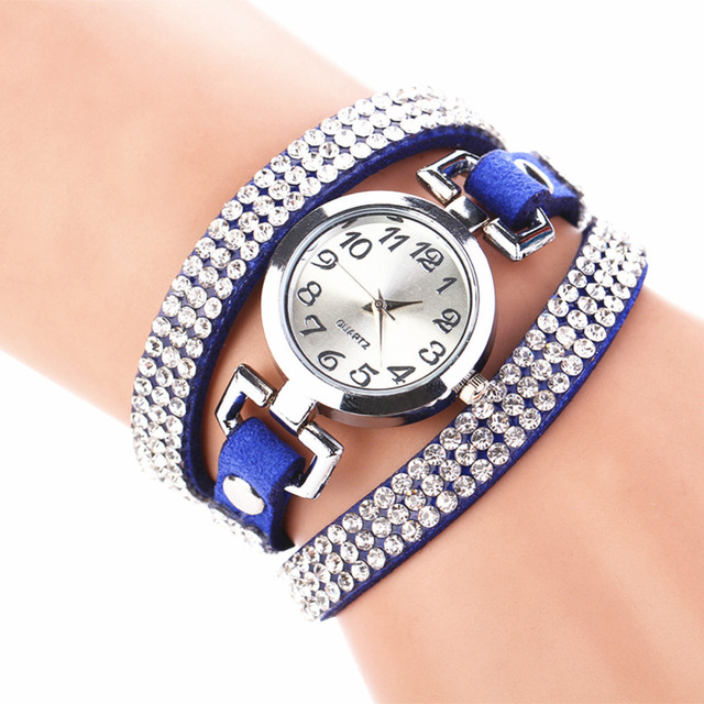 Crystal Rhinestone Leather Bracelet Wristwatches