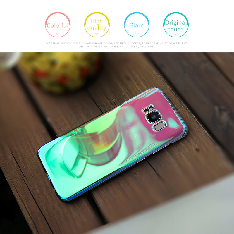 Samsung Galaxy S8 Plus S7 Edge Cases Aurora Gradient Color Transparent  Light Hard PC Cover