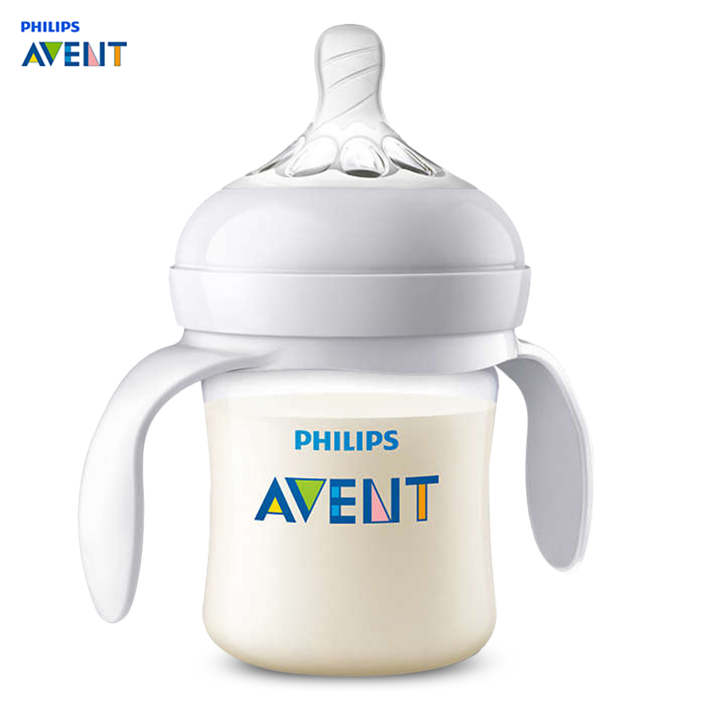 Philips Avent 4oz / 125ml Baby Handle Milk Bottle Training Feeding Drinking Cup Flexible Spiral Design Milk Bottlees Feeding