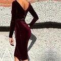 Preself vestidos sexy profunda v espalda o cuello longitud de la rodilla de terciopelo dress party club de las mujeres vestidos de la envoltura elegante del vino rojo negro 3 Color