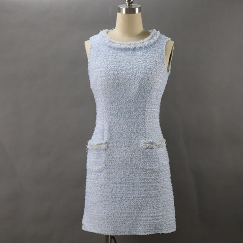 Sky blue tweed dress 2019 spring autumn women s dress ladies slim slim bead sleeveless bottoming