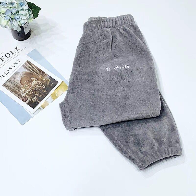 Зимние фланелевые длинные штаны для сна; Толстая Теплая Повседневная Домашняя одежда; повседневные пижамные брюки; мягкие свободные брюки; одежда для сна - Цвет: Pants-Gray