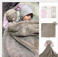 Produtos de comércio exterior do bebê cabeça de animal de cristal urso coelho de veludo saco de dormir do bebê recém-nascido cobertor tapete cobertor elefante criança