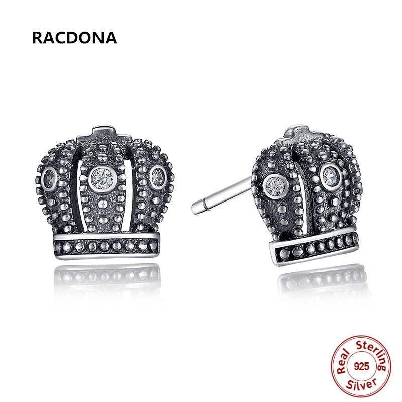 New Hot Sell 925 Sterling Silver Royal Crown Stud Earrings Clear CZ With Clear CZ Compatible