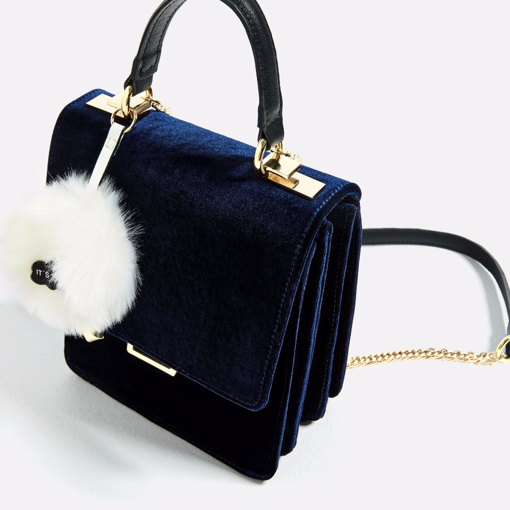 Temperament blue velvet strap velvet briefcase portable diagonal shoulder bag handbags