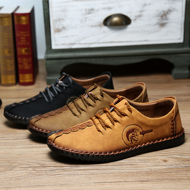 Retro Handmade Leather Shoes Men New Arrival Casual Genuine Leather Oxfords Chaussure Homme Soft Comfort Sapato Masculino