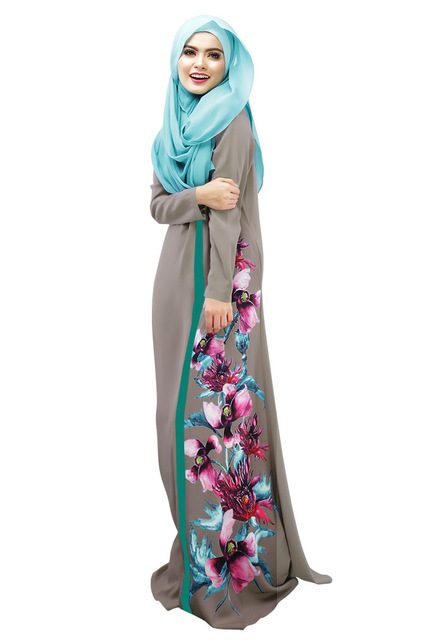 2016 Latest Muslim Womens Abaya Dress O-Neck Long Sleeve Floor-Length Loose Printed Islamic jilbab hijab Kaftan Womens Clothing