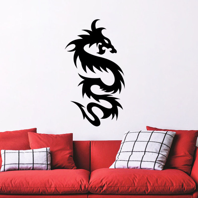 Creative Design Tribal Dragon Vinyl Wall Decals Loong Styling Wall - Vinyl wall decal adhesive