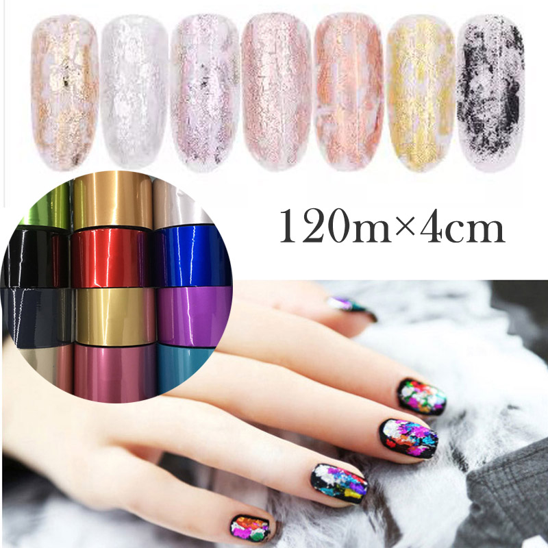 120m*4cm Holographic Matte Starry Sky Pure Color Nail Art Transfer Foil Holographic Silver Gold Nail Design Transfer Sticker цена 2017