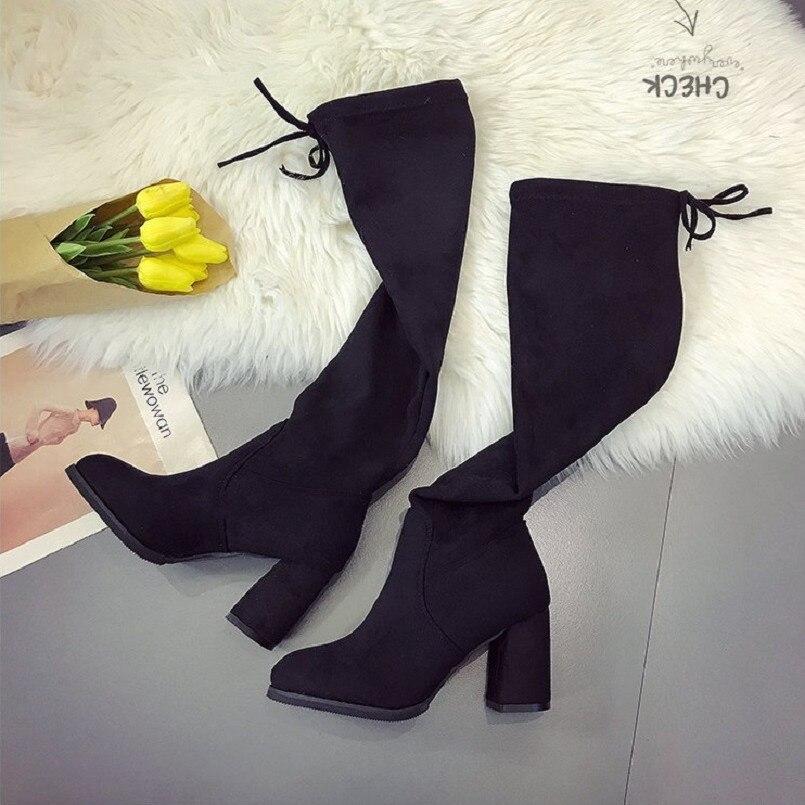 Cresfimix botas femininas mujeres moda alta calidad 7 cm tacón alto  deslizamiento en botas de señora Linda y casual rodilla botas largas a2399  en Botines de ... d6f4fe0172cb