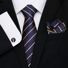 New Gold Striped men ties set Extra Long Size 145cm*8cm Necktie navy blue Silk Jacquard Woven Neck Tie Suit Wedding Party