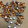 100 set/lote 8mm cristales anaranjados de acrílico con diamantes de imitación remaches de plata rápida clavos de tachuelas aptos para zapatos cinturón DIY envío gratis