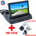 "2 in 1 Auto Parking Assistance 4 colors Car Rear View Camera+4.3"" Colorized LCD Car Foldable Monitor Night Vision backup Camera"