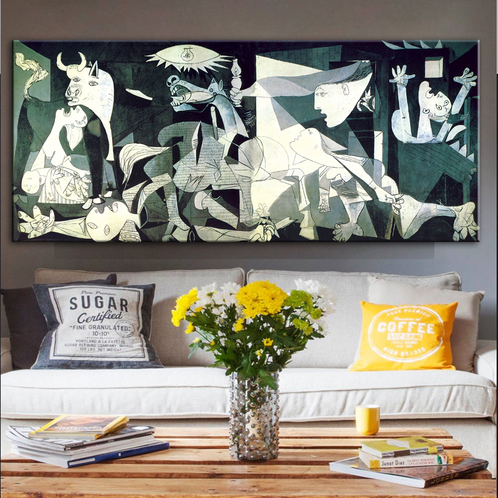 Pinturas de arte famosas de Picasso Guernica estampadas en lienzo impresiones de arte de Picasso reproducciones cuadros de pared decoración del hogar Arte clásico reproducción artista Magritte el beso carteles e impresiones lienzo arte pintura cuadros de pared para la decoración del hogar