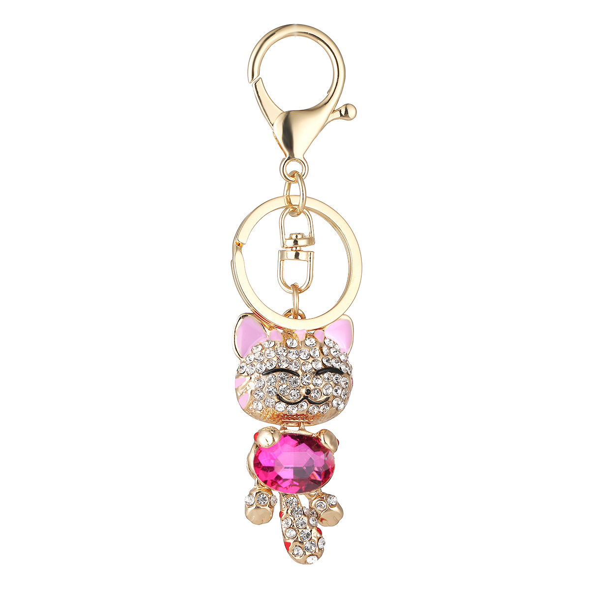 Lucky Smile Cat Crystal Rhinestone Keyrings Key Chains Holder Purse Bag For Car christmas Gift Keychains Jewelry llaveros lucky bag gift box for blackview ultra