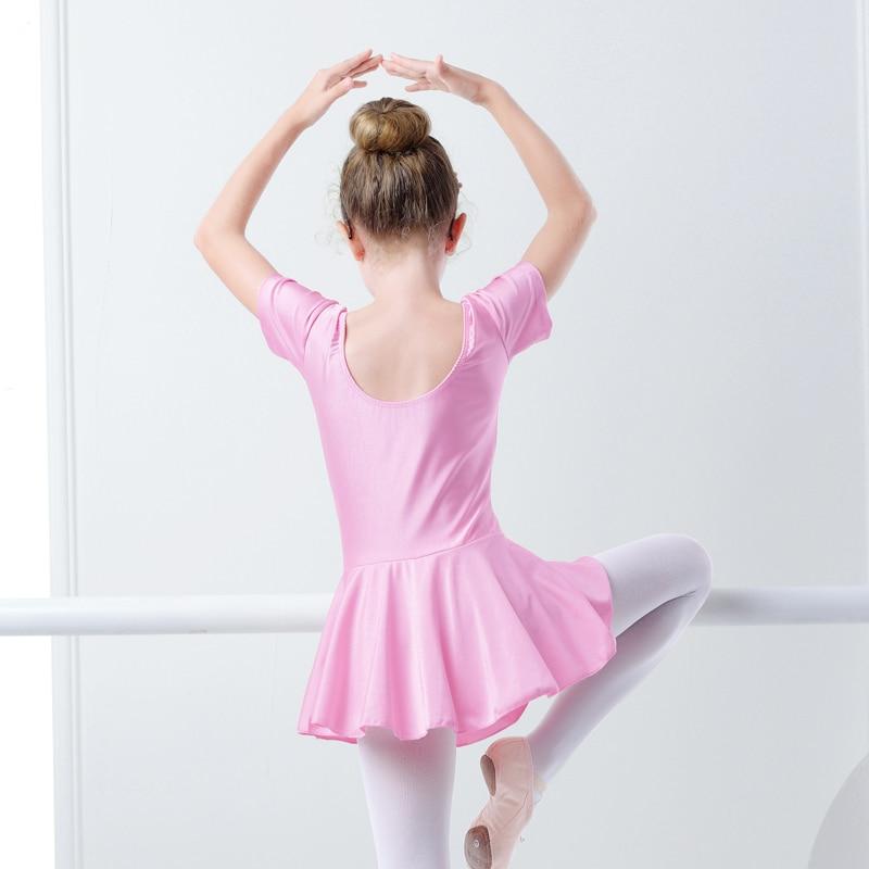 Girls Children Summer Shiny Spandex Short Sleeve Dance Dress Kids Gymnastics Ballet Skirted Leotard