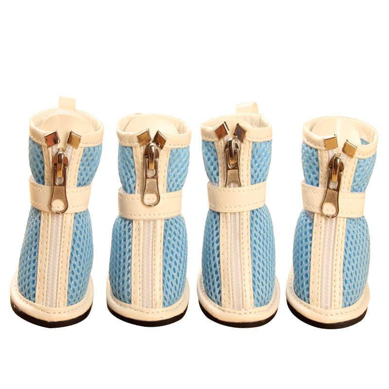 Küçük Köpek Ayakkabı Kadın Erkek Düz Renk Yaz Nefes Örgü Ayakkabı Ayarlanabilir Fermuar Çizmeler Evcil Hayvan Ürünleri DOGGYZSTYLE