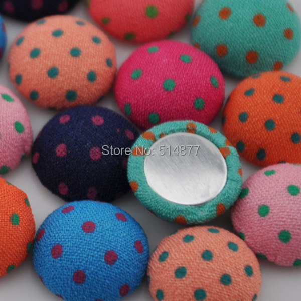 1050100pcs 13mm round polka-dot printing fabric covered button with flat back as jewelry accessories CT05
