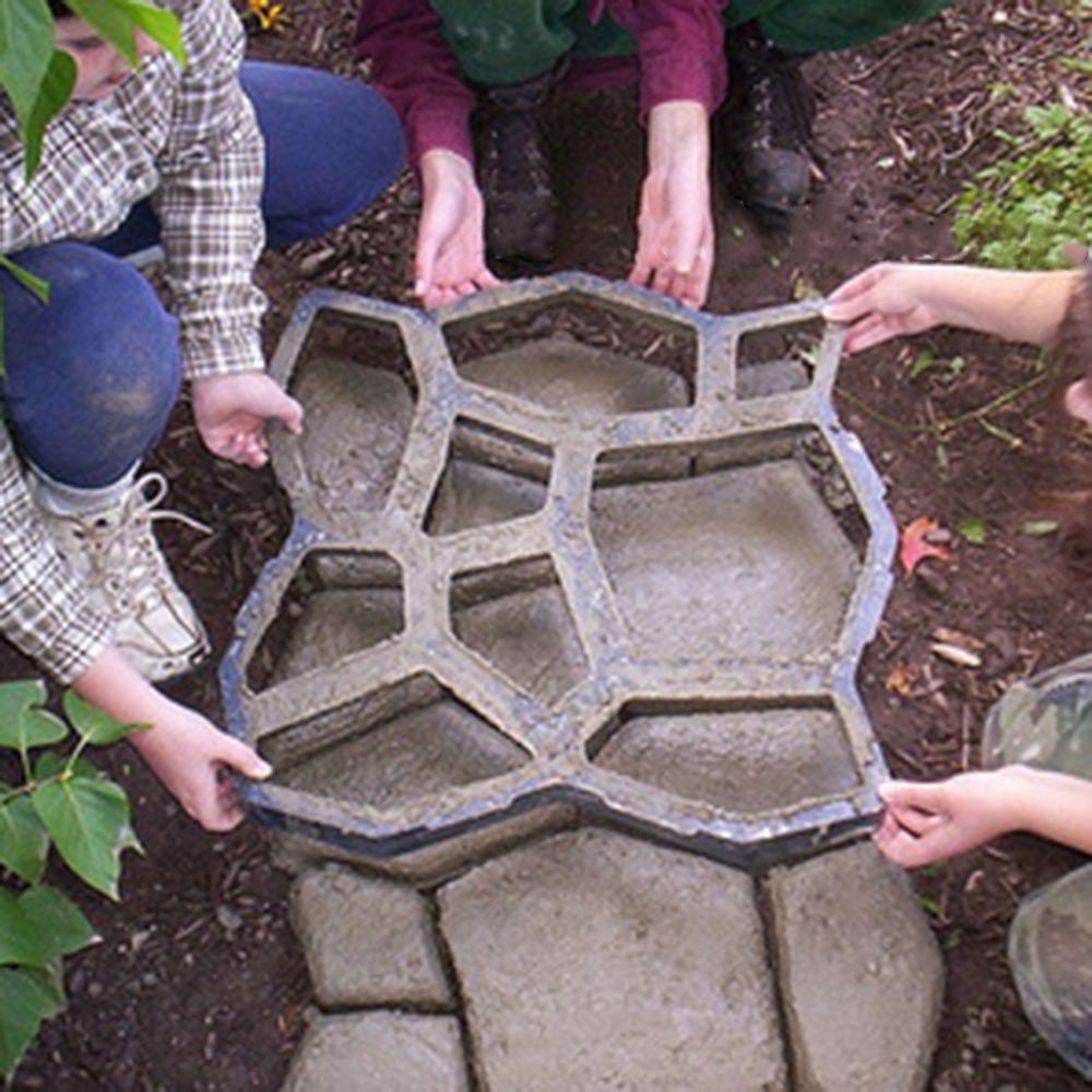43.5x43.5CM Irregular Driveway Paving Pavement Stone Mold Concrete Garden Road Path Mould Stencil Paver Garden Decoration
