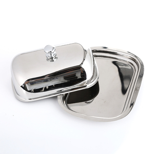 Realand Oval Stainless Steel Butter Dish Box Container Shiny Cheese Server Storage Keeper Tray with Easy to Hold Lid(China)