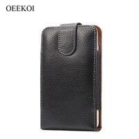 OEEKOI Clip para el Cinturón de Cuero Genuino Cubierta de Bolsa Caso para myPhone Q-smart Negro Edición/Q-smart Elite/Q-Smart II Plus de 5 Pulgadas