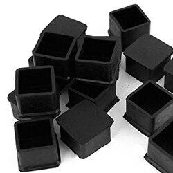 Boutique 15Pcs Schwarz Gummi 30mm x 30mm Platz Stuhl Fuß Abdeckung Stuhl Bein Caps