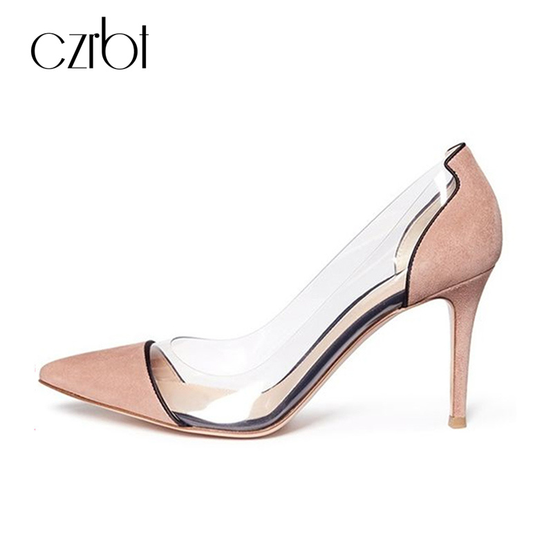 CZRBT Concise Style Women High Heels Shoes 10cm Steel Heel Elegant Shallow and Thin Heels Ladies Party Pumps With Big Size lady s pumps high thin heel spike heels mixed colors metal buckle elegant concise women wedding shoes 2015 high heels